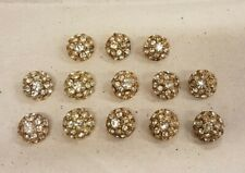 Vintage yellow painted base metal & paste/rhinestone cluster buttons x 13