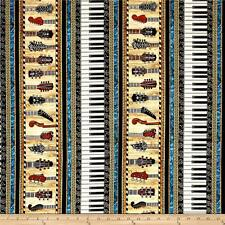 MUSICAL Instruments Fabric Fat Quarter Cotton Craft Quilting PIANO GUITAR