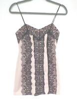 Topshop Petite Bodycon Dress Size 8 Pink Black Lace