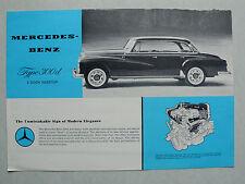 Prospekt Mercedes Type 300 d 4 Door Hardtop, ca,1960, 2 Seiten, englisch aus USA