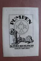 Werbung 1915-40 Pumpen KARA Alfred kratzsch Gera Reuss 9 Maschinenfabrik Eiseng.