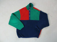 Woolrich Sweater Adult Medium Green Red Fleece Pull Over Outdoors Mens