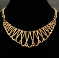 RICH Gold Tone Plastron Necklace Bib Statement HEAVY Lovely Costume Quality