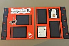 Halloween Trick or Treat 12x12 Scrapbook Pre-made Handmade Pages - Set of 2