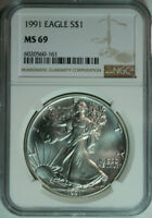 1991 American Eagle .999 Pure Silver Dollar / NGC MS69