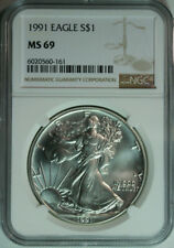 1991 American Silver Eagle / NGC MS69 / Top Rated / Freshly Graded