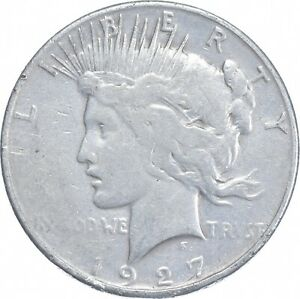 Early - 1927-S Peace Silver Dollar - 90% US Coin *167