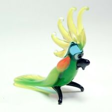 "Glass figurine Green African Parrot ""Murano"" Art miniature ornament. See VIDEO"