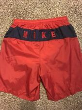 69ca64778a Vintage 90s Nike Swim Trunks Red Medium Swoosh Nylon Shorts Running