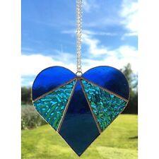Fatto A MANO VETRO COLORATO Amore Cuore Suncatcher tecnica Tiffany glass vetro blu