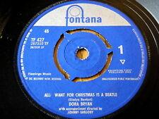"""DORA BRYAN - ALL I WANT FOR CHRISTMAS IS A BEATLE  7"""" VINYL"""