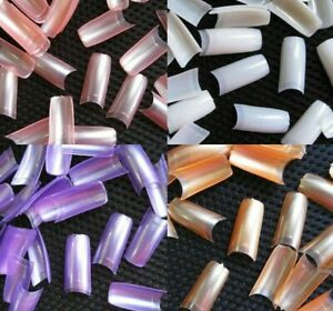 500 Pcs French Style Nail Art Tips Pearl Pearly Color False Acrylic Nails UV Gel