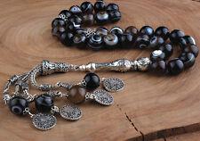 Islamic Prayer Beads, Akik Agate Stone turkish tasbih, 33 Beads Tesbih, 12 mm