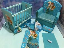 Barbie Baby Nursery Set furniture crib & sofa & carrier. Frozen elsa & anna