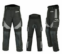 Mens Waterproof Motorbike Motorcycle Trousers Pant Gears CE Armored Lined - Grey