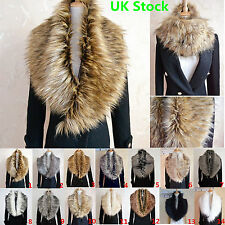 Ladies Women Faux Fur Collar Scarf Fluffy Winter Shawl Wrap Stole Scarfs Chic