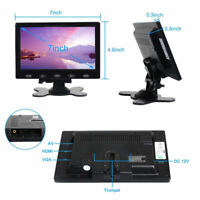 Ultra Thin HD 7'' TFT LCD Color HD Monitor Audio Video HDMI VGA Input w/ Speaker