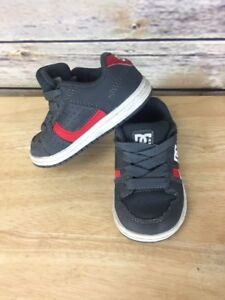 Toddler DC Shoes Low Top Dark Gray Red & White Tennis Shoes Size 5 toddler
