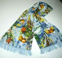 MAYA MATAZARO Silk Exquisite Wine Fruit Floral Fringed Scarf Wrap Sash Mint