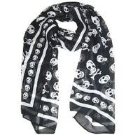 Chiffon di seta nero Sentirsi Skull Stampa sciarpa lunga dello scialle Scaf B3U4