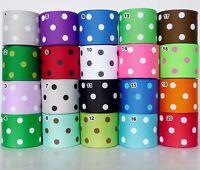 """1.5"""" 38mm Polka Dots Grosgrain Ribbon 1 Yard 5 Yard 25 Yard 100 Yard Craft Sew"""