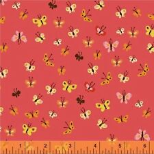 Tiger Lily Butterflies Coral Fabric 1/2 yard by Heather Ross for Windham