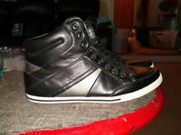 New Aldo Men's High Top Leather Fashion Sneakers Shoes Black/Gray/White Size 11