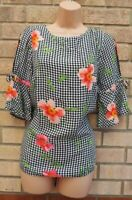FLORENCE FRED BLACK WHITE GINGHAM FLORAL SHORT SLEEVE BLOUSE TOP T SHIRT 12 M