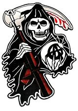"""Motorcycle Back Patch GRIM REAPER SONS OF ANARCHY  New Huge 13"""" x 9"""" Embroidered"""