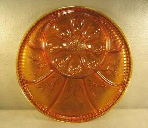 """Amber Deviled Egg Relish Tray Divided Platter Carnival Glass 12 3/4"""" Vintage"""