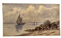 "Circa 1890 ""New Haven Harbor"" By Reverend William George Puddefoot [1842-1925]"