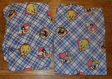 Vintage 1995 Looney Tunes Blues Twin Sheet Set Bugs Bunny Tweety Taz Sylvester