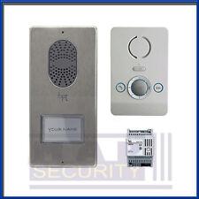 BPT - 1 vie audio citofono porta entrata Kit Con Bianco Perla Unità & spazzolato Pannello