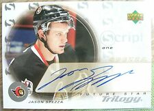on card hard AUTO Jason SPEZZA 2003-04 UD Trilogy Script 1 Future STAR Senators