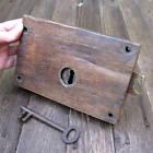 Antique Oak Encased Door Lock with WORKING KEY