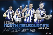 NORTH MELB Facsimile Signed by 4 AFL Official Print WELLS ZIEBELL PETRIE SWALLOW