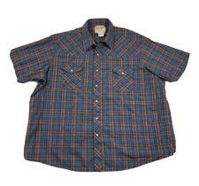 Wrangler Mens 3XL Brown Short Sleeve Pearl Snap Shirt Plaid Cowboy