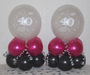 40th Birthday  2 / 6 / 12 Pack Table Balloon Decoration Display Kit - Pink/Black