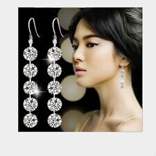 60mm Sterling Silver Cubic Zirconia CZ Stones Drop Dangle Earrings Gift Box K33