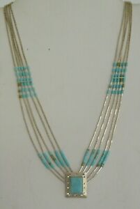 """Vintage Sterling Silver Southwestern Turquoise Liquid Silver Necklace 18"""""""