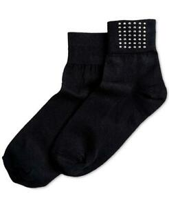 Hue Women's Black Studded Shortie Socks 1 Pair One Size MSRP $7