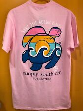 Simply Southern Women's Short Sleeve T Shirt Pink Size XL Save The Ocean Club