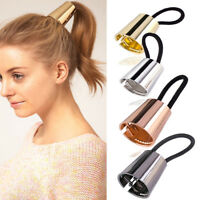 Fashion Woman Metal Elastic Ponytail Holder Hair Cuff Wrap Tie Band Ring Rope