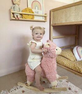 Pink Plush Llama Wooden Rocking Horse Animal Rocker Toy