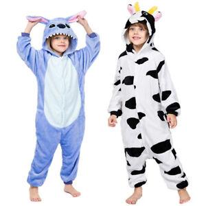 Adult kids Animal Pajamas Cow stitch Onesie11 Costume Pyjamas Hot Christmas gift