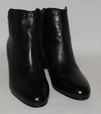 Womens VIA SPIGA Black Leather Short Ankle Boots Size 8.5 Euro Size 40