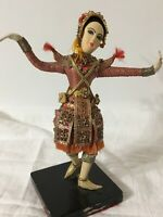 Vtg Asian Dancer Figure Thai Siam Hand Embroidery Embellish Culture Collectable