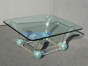 Vintage Mid Century Modern Coffee Table Lucite Sabre Legs & Turquoise Ball Feet