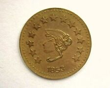 >>1853  HALF DOLLAR ROUND CALIFORNIA GOLD STYLE TOKEN, UNCIRCULATED NNC Graded
