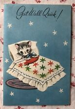 Vintage 1950s UNUSED Get Well Greeting Card Cute Little Grey Kitten in Bed